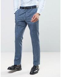 Pantalón de vestir de lana a cuadros azul de Asos