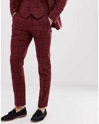 Pantalón de vestir de lana a cuadros burdeos de ASOS DESIGN