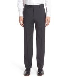 Pantalón de vestir de lana a cuadros en gris oscuro
