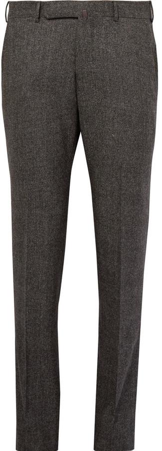 Pantalón de vestir de lana a cuadros en gris oscuro de Ermenegildo Zegna