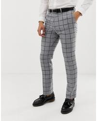 Pantalón de vestir de lana a cuadros gris de ASOS DESIGN