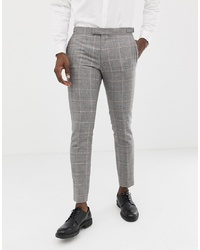 Pantalón de vestir de lana a cuadros gris de MOSS BROS
