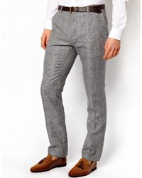 Pantalón de vestir de lana a cuadros gris de Peter Werth