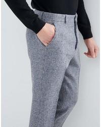 Pantalón de Vestir de Lana a Cuadros Gris de Asos