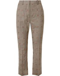 Pantalón de vestir de lana a cuadros marrón claro de Altuzarra