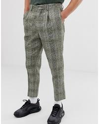 Pantalón de vestir de lana a cuadros verde oliva de ASOS DESIGN