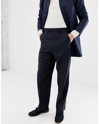 Pantalón de vestir de lana azul marino de ASOS DESIGN