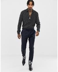 Pantalón de vestir de lana bordado azul marino de ASOS Edition
