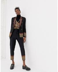 Pantalón de vestir de lana bordado negro de ASOS Edition