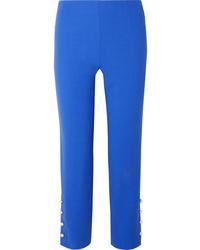 Pantalón de vestir de lana con adornos azul de Lela Rose
