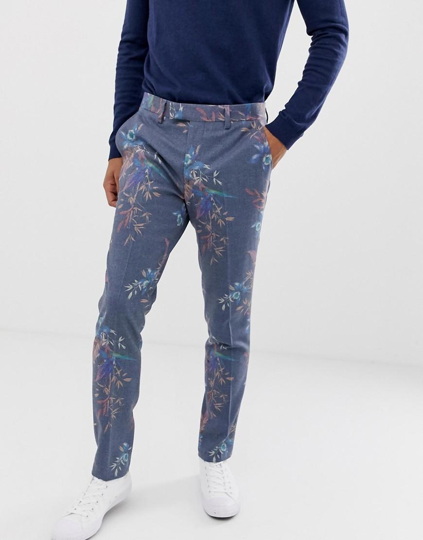 Pantalón de vestir de lana con print de flores azul de ASOS DESIGN