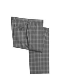 Pantalón de vestir de lana de cuadro vichy gris