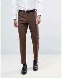 Pantalón de Vestir de Lana de Cuadro Vichy Marrón de Asos