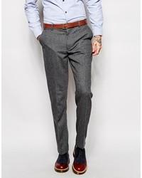 Pantalón de vestir de lana de espiguilla en gris oscuro de Farah