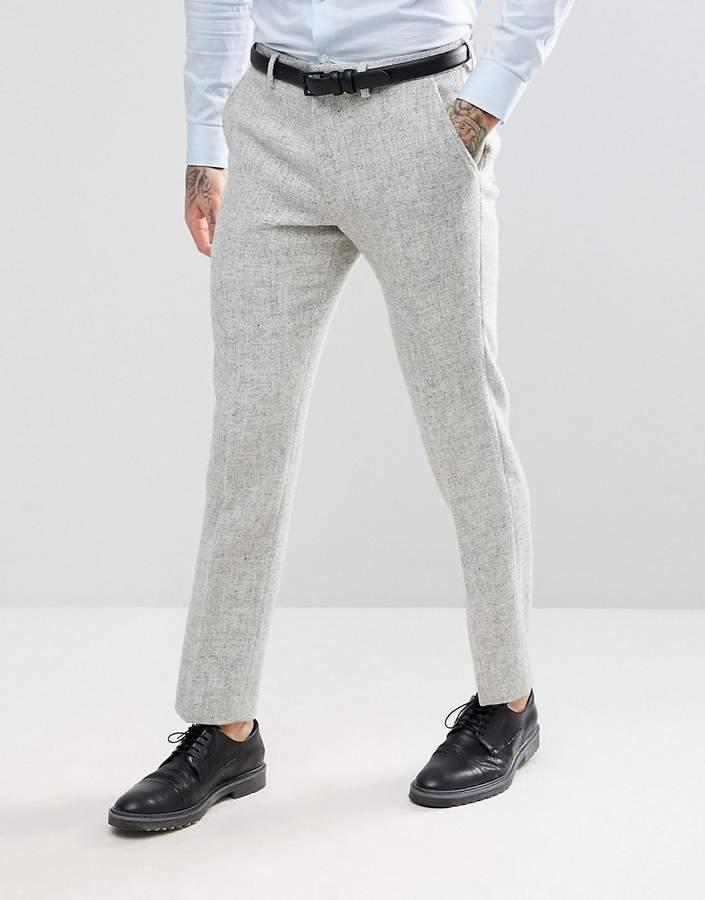 Pantalón de vestir de lana de espiguilla gris de Asos