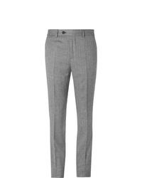 Pantalón de vestir de lana de espiguilla gris de Brunello Cucinelli
