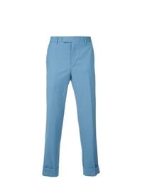 Pantalón de vestir de lana de pata de gallo azul de CK Calvin Klein