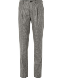 Pantalón de vestir de lana de pata de gallo gris de Brunello Cucinelli