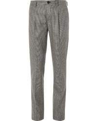Pantalón de Vestir de Lana de Pata de Gallo Marrón de Brunello Cucinelli