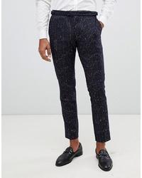 Pantalón de vestir de lana de rayas verticales azul marino de MOSS BROS