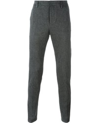 Pantalón de vestir de lana de rayas verticales en gris oscuro de Dondup