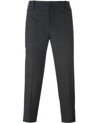 Pantalón de vestir de lana de rayas verticales en gris oscuro de Neil Barrett