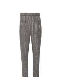 Pantalón de vestir de lana de rayas verticales gris de Isabel Marant
