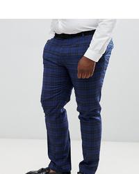 Pantalón de vestir de lana de tartán azul marino de Twisted Tailor