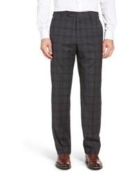 Pantalón de vestir de lana de tartán en gris oscuro
