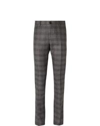 Pantalón de vestir de lana de tartán en gris oscuro de Etro