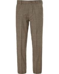 Pantalón de vestir de lana de tartán en marrón oscuro de J.Crew