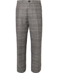 Pantalón de vestir de lana de tartán gris