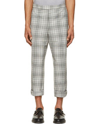 Pantalón de vestir de lana de tartán gris de Thom Browne