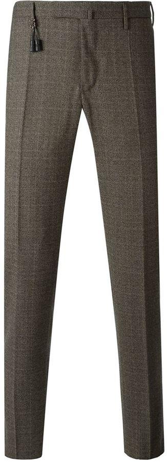 Pantalón de vestir de lana de tartán marrón de Incotex