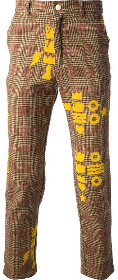 Pantalón de vestir de lana de tartán marrón de Walter