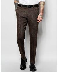 Pantalón de vestir de lana en marrón oscuro de Asos