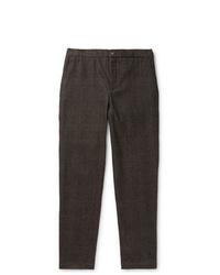 Pantalón de vestir de lana en marrón oscuro de De Bonne Facture