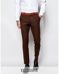 Pantalón de vestir de lana en marrón oscuro