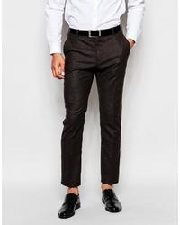 Pantalón de vestir de lana en marrón oscuro de Selected