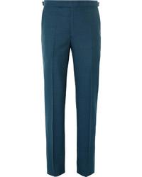 Pantalón de vestir de lana en verde azulado de Richard James