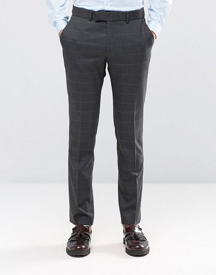 Pantalón de Vestir de Lana Gris Oscuro de Ben Sherman