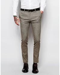 Pantalón de vestir de lana marrón de Asos