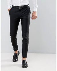 Pantalón de Vestir de Lana Negro de Asos