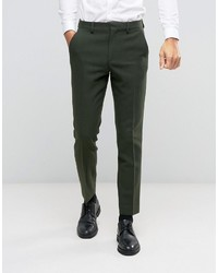 Pantalón de Vestir de Lana Verde Oliva de Asos
