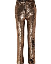 Pantalón de vestir de lentejuelas dorado de IRO