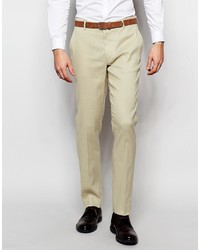 Pantalón de Vestir de Lino Beige de Asos