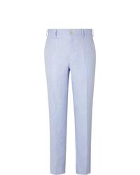 Pantalón de vestir de lino celeste de Anderson & Sheppard