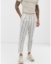 Pantalón de vestir de lino de rayas verticales blanco de ASOS DESIGN