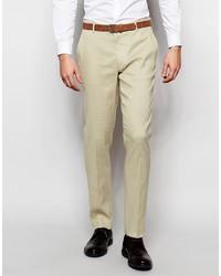 Pantalón de vestir de lino en beige de Asos