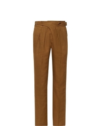 Pantalón de vestir de lino en tabaco de Rubinacci